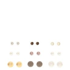 Mixed Metal and Classy Pearl Stud Magnetic Earrings