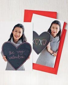 Chalkboard Valentine Photo Card from Martha Stewart ..... Easy Valentine's Ideas for