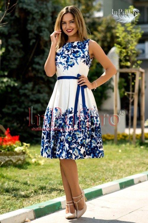 Rochie alba imprimeu floral bleumarin