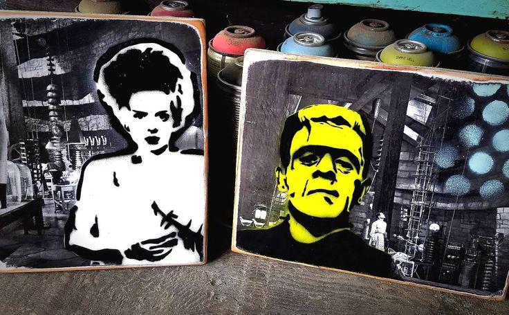 Frankenstein Bride of Frankenstein Set Original Graffiti Art Painting on Wood Panel RePurposed Ply Wood Urvan Art Home Decor by thefactory101 on Etsy