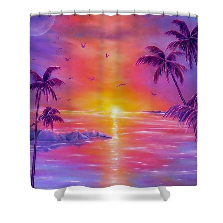 Shower Curtain,  bathroom,accessories,unique,fancy,cool,trendy,artistic,awesome,beautiful,modern,home,decor,design,for,sale,unusual,items,products,ideas,purple,violet,tropical,sunset,palmtrees,coastal