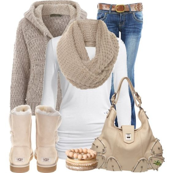 #outfits #winter / Knit Cardigan + Scarf