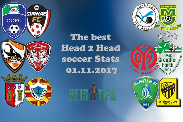 Head 2 Head Soccer Stats The best Head 2 Head soccer Stats for 01.11.2017 Our team is analyzing all Head 2 Head Soccer records for the next days, in order to bring you the best Head 2 Head soccer prediction and cut your time in search of the best Head 2 Head selection, we are publishing what we think that is special or unusual. We are going with traditional 1×2 records, over 2.5, under 2.5, btts-Yes or No. When we notice something interesting in past performance and stats between two teams…