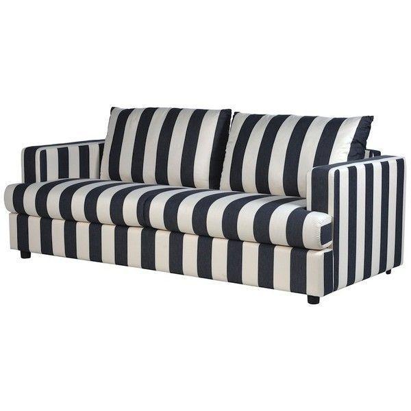 Valentina Black Cream Striped Sofa Found On Polyvore Featuring