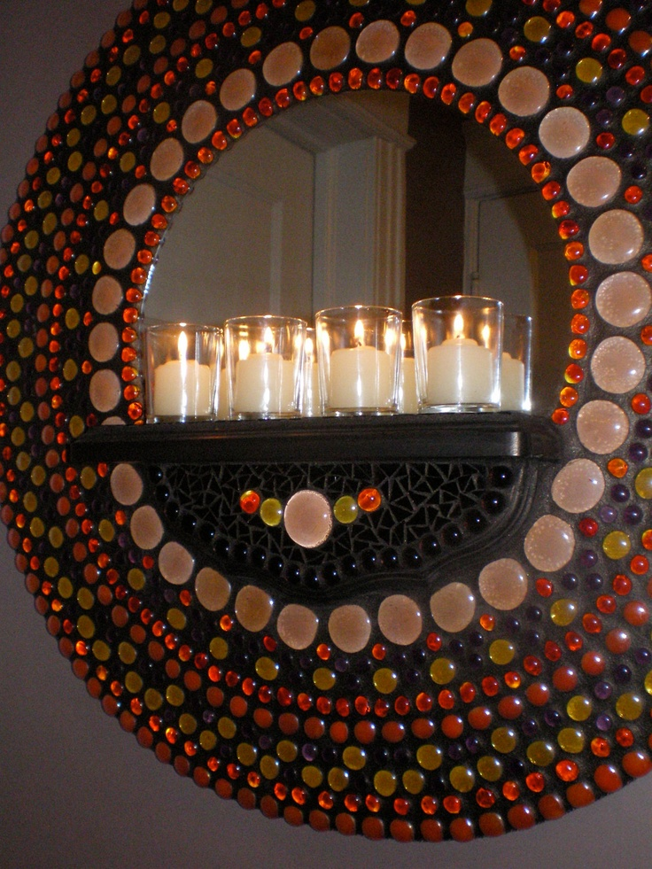 Mosaic wall mirror with shelf