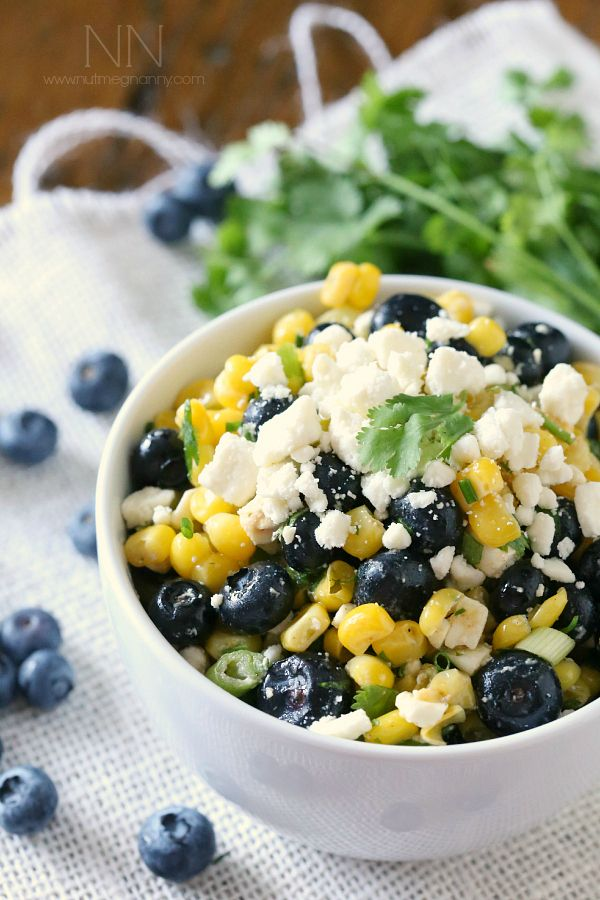 This sweet corn blueberry salad is packed full of summer corn, sweet blueberries, feta cheese and cilantro. @nutmegnanny