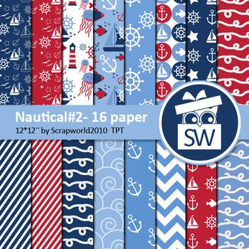 Nautical paper pack include16 digital paper size 12 by 12 inch 300dpi JPGlet me know if you need another size (A4) more nautical graphics for $0,99 there