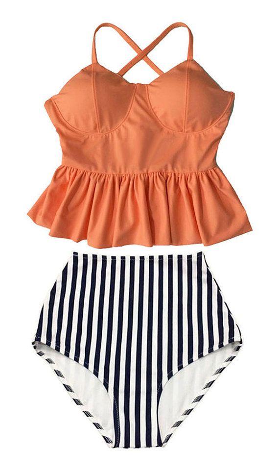 Old Rose Long Peplum Hem Top and Stripes High waisted waist Shorts Bottom Bikini Swimsuit Swimwear Beach Swim wear Bathing suit dress M L
