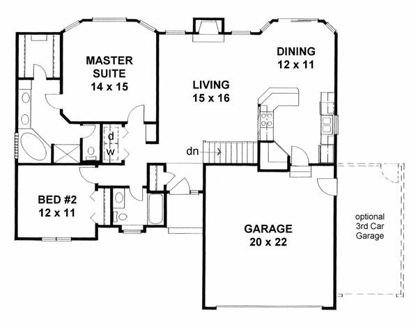 Gentil House Plan 62610 Traditional Plan With 1273 Sq., 2 Bedrooms, 2 Bathrooms, 2  Car Garage At Family Home Plans