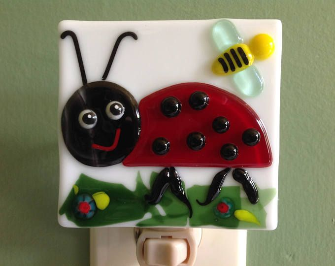 Ladybug, Fused Glass, Girls, Nursery, Bug, Insect, Night Light, Wall Light, Plug In, Spring, Nightlight, Nite Light, Night Lite