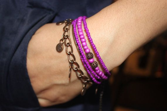 Violet And Antique Copper Chain Bohemian Bracelet by MonroeJewelry, $18.00