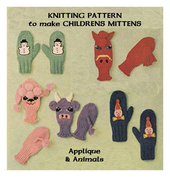 Instant Download PDF Knitting pattern to make Childrens Boys Girls Animal Mit...