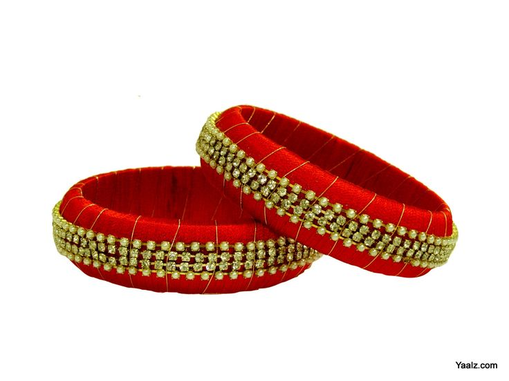 silk thread jewellery Yaalz Broad Bangles in Red-Yaalz For orders whatsapp in 8971045612