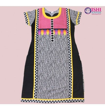 Grey and Black Printed Cotton Kurti