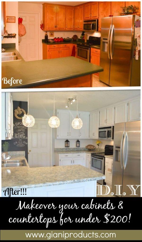 Kitchen update on a budget. DIY Paint Kits to revamp countertops and cabinets. www.gianigranite.com www.nuvocabinetpaint.com Countertop Paint! by lea  http://renovandlove.com/entreprise-renovation-ile-de-france/  Renov&Love - Entreprise de Rénovation 12 route du pavé des gardes, bat 5 92370 chaville 09 70 73 18 99  #renovation #appartement #paris #déco #maison #decorateur #decoration #relooking #cuisine #salledebain #studio
