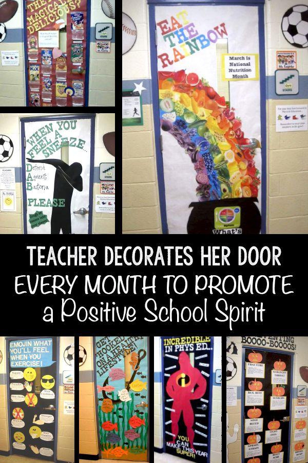 Teacher Decorates Her Door Every Month To Promote A Positive School Spirit School Spirit Teacher Door Decorations Bored Teachers