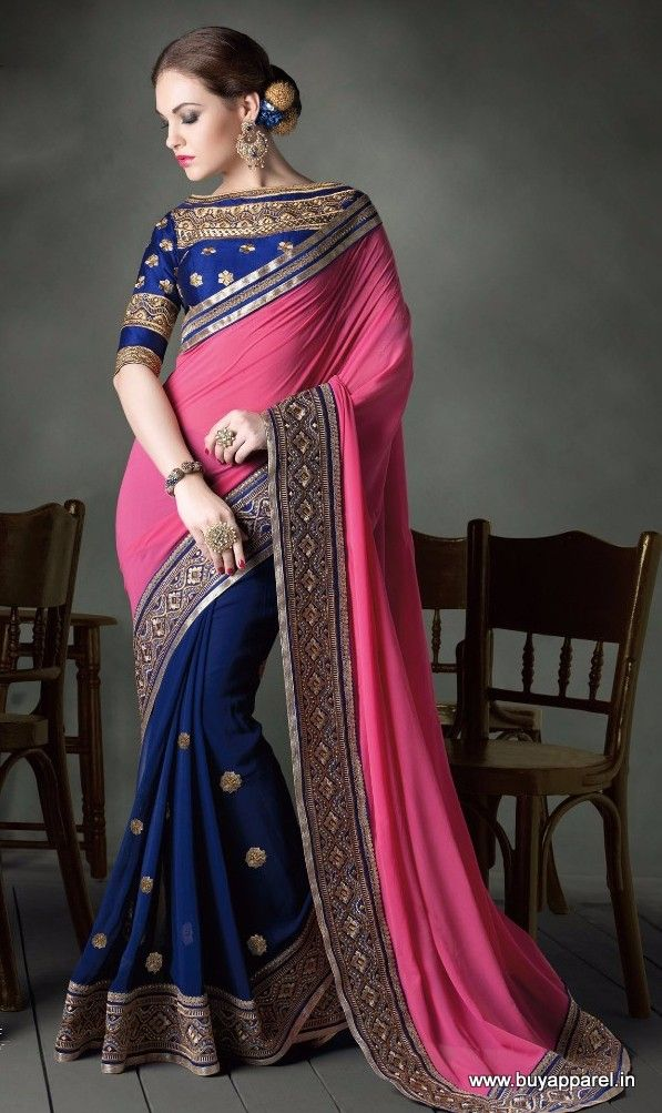 Faux Gerogetteand party wear saree