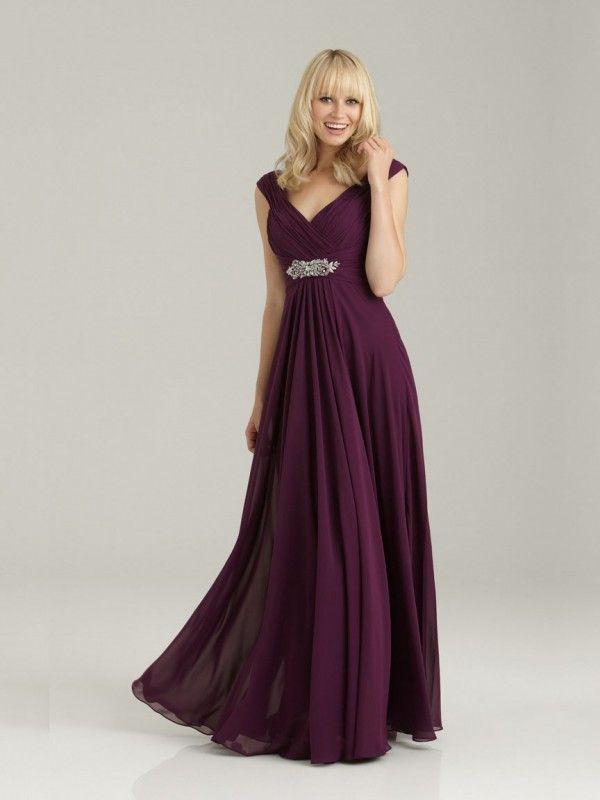 GRAPE PURPLE V NECKLINE FLOOR LENGTH LONG CHIFFON CHEAP BRIDESMAID DRESS