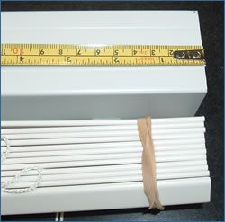 Instructions to Cut down the width of horizontal blinds that are too wide ~ In order to cut down the size of your blinds you may have to cut down the valance, headrail and slats.