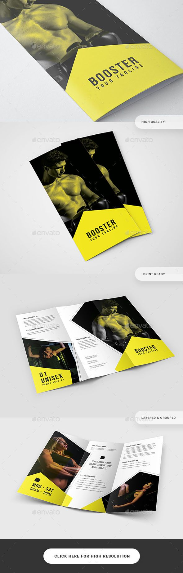 Fitness Gym Trifold Brochure Template PSD