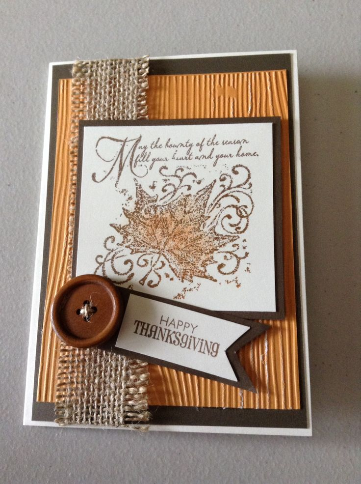 Thanksgiving card like the burlap and button
