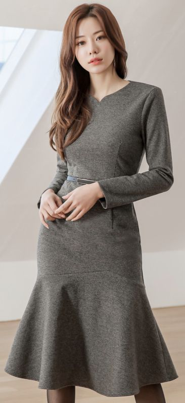StyleOnme_Brushed Futter Mermaid Silhouette Kleid #officelook #grau #Kleid #Feminin   – Clothes
