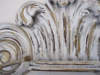 """DIY:  How to """"Age"""" a New Architectural Piece - using 3 shades of Spray Paint, Gold Craft Paint, Antiquing Glaze, Sandpaper & a White Candle. (includes colors used)  Fab Tutorial!!"""