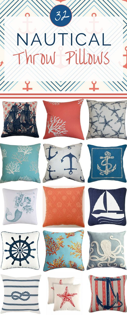 Nautical home decor is hot right now. Add a little maritime flair to your space with one of these fabulous nautical throw pillows.