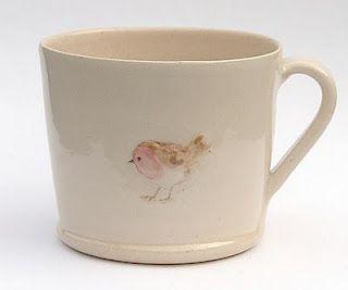 Beautiful ~  Mug - Robin on cream by Jane Hogben