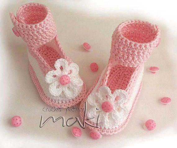 Вязание крючком узор розовый Божья коровка набор пинетки с помощью MakiCrochet