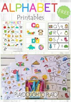 FREE Alphabet Printables. Alphabet chart, letter sound clip cards and upper and lowercase puzzles. Perfect for literacy centers or ABC games.