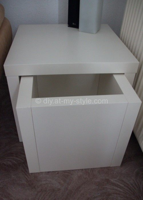 IKEA hack - table w/drawer. Could work as a recycling bin, too.