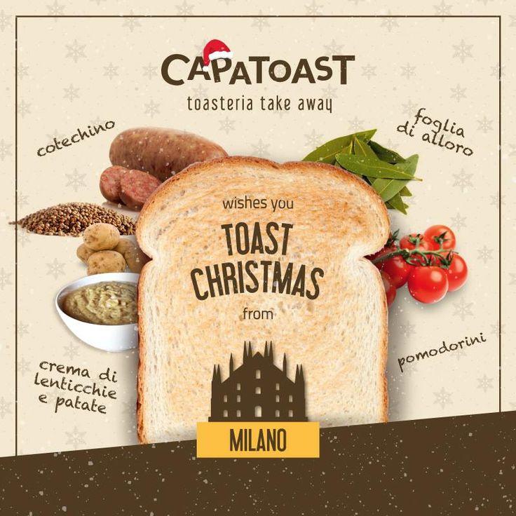 Ciao #MILANO! ⛄ Per festeggiare il #Natale e l'anno nuovo ci siamo inventati un Toast speciale assolutamente da provare: cotechino, pomodorini, una deliziosa crema di lenticchie e patate, tocco finale con foglia di alloro  Solo da oggi al 7 Gennaio e solo nello store di MILANO C.SO BUENOS AIRES (Piazza Argentina 4). We wish you a #TOASTChristmas! Solo da #Capatoast