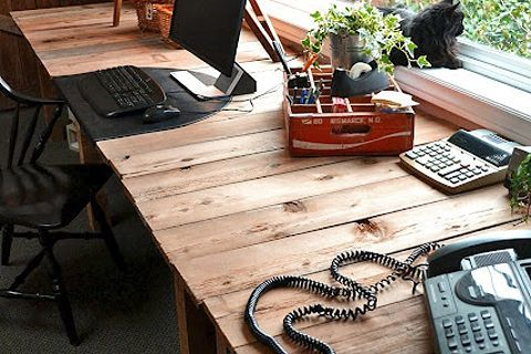 my 3 00 farm table styled pallet desk, basement ideas, diy, painted furniture, pallet, I nearly painted the top at first I m glad I didn t Love the woodsy warm look http www funkyjunkinteriors net 2011 03 pallet farm table desk part 3 reveal html