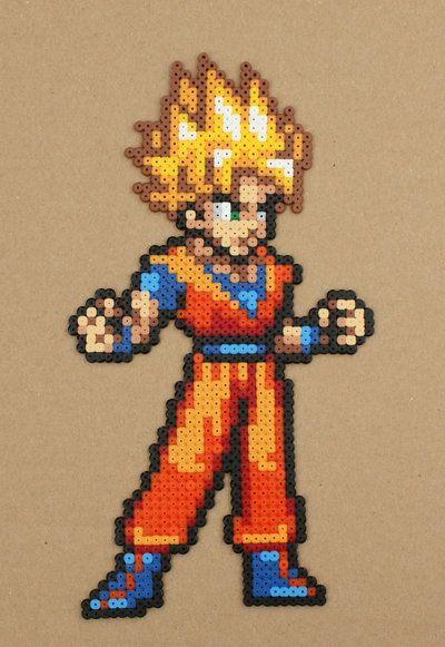 Goku Hama Perler Bead Sprite by strepie93.deviantart.com on @DeviantArt