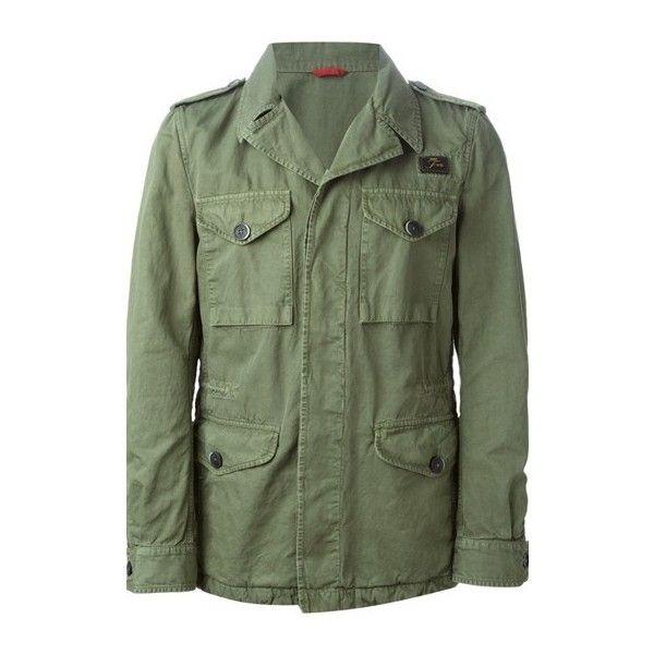 FAY Pocket Detail Jacket (730 AUD) ❤ liked on Polyvore featuring men's fashion, men's clothing, men's outerwear, men's jackets, green, mens green jacket et mens four pocket jacket