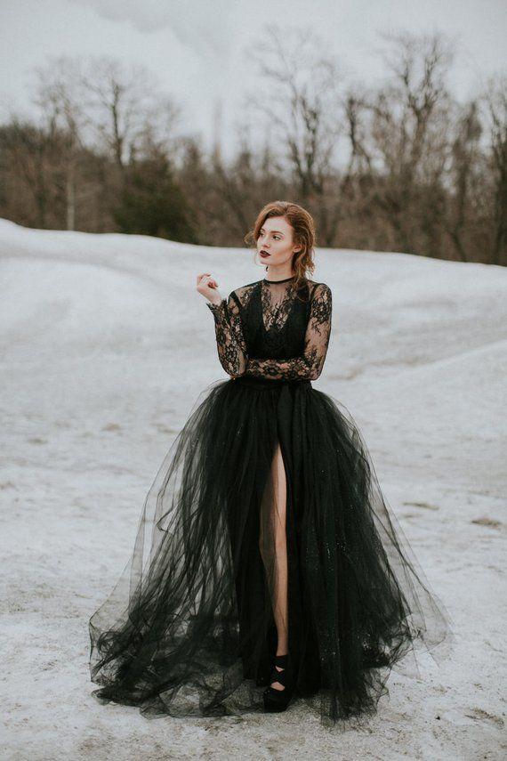 533fd100058 Wedding Separates - Iris Wrap Skirt - Tulle Skirt - Black Wedding Dress -  Sheer Wedding Dress - High