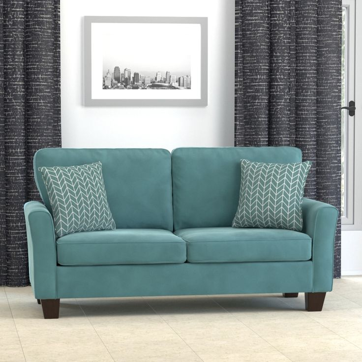 Handy Living Redmond Turquoise Blue Velvet SoFast Compact Sofa By Handy  Living