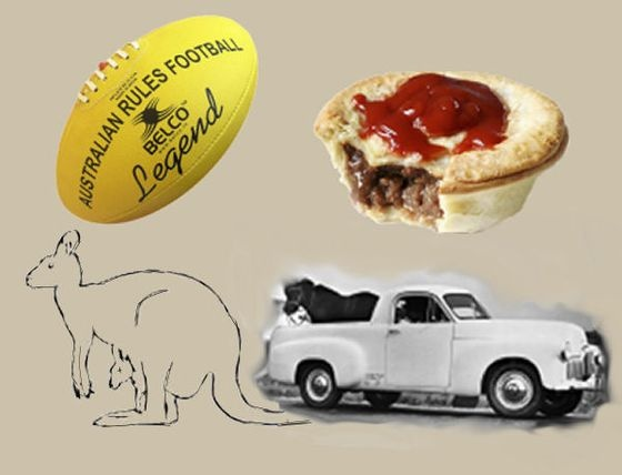 As the Australian song says - Football, meat pies, Kangaroos & Holden Cars