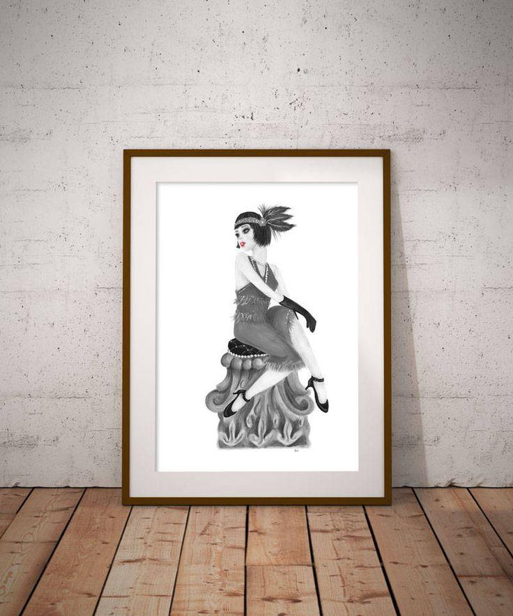 Flapper portrait, fashion wall art, black and white art, beauty saloon decor, 20's decor, retro decor, Digital art decor, image transfer by DreamBigArtDesign on Etsy
