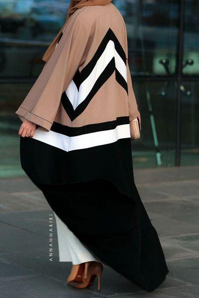 Colourblock abaya Dubai style Gulf abaya Ramadan abaya
