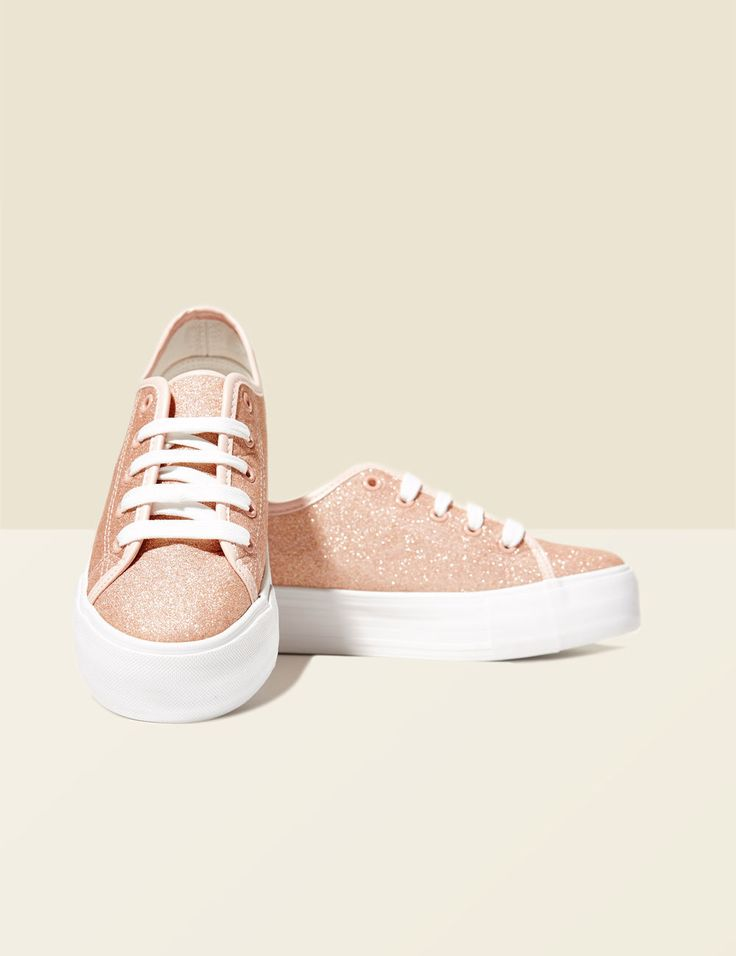 Baskets compensées à paillettes rose clair femme • Jennyfer