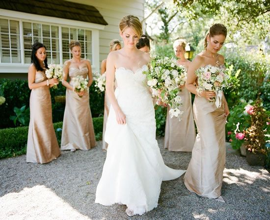 Champagne Bridesmaids Dresses and beautiful flowers