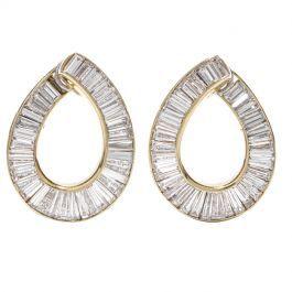 Gregory Tapered Baguette Diamond Yellow Gold Hoop Earrings Diamonds