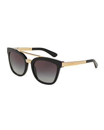 Square Brow-Bar Sunglasses, Black by Dolce & Gabbana at Neiman Marcus.