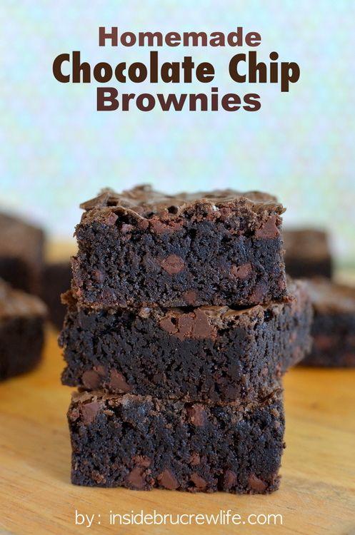 Homemade Chocolate Chip Brownies - dark, rich brownies will help satisfy those chocolate cravings
