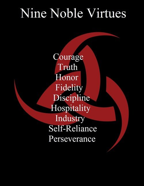 The Nine Noble Virtues of Asatru.  Be bold and steadfast. Practice everyday to be a better person, and with time, you will build a better life.  Become an exceptional person with good virtues.