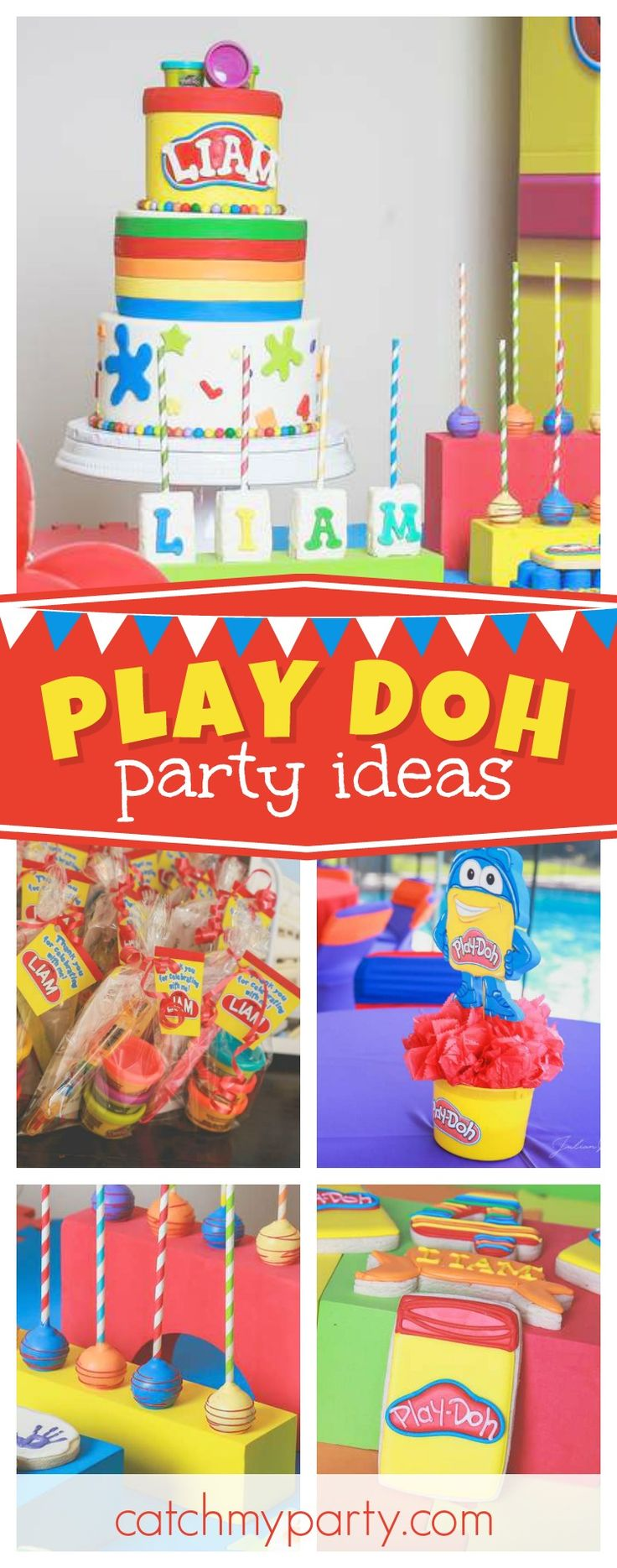 Check out this fun Play Doh birthday party! The birthday cake is awesome!! See more party ideas and share yours at CatchMyParty.com  #partyideas #playpoh #boybirthday