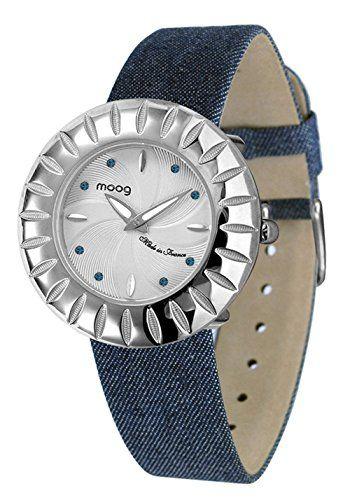 Moog Paris-Petale Damen-Armbanduhr Zifferblatt silber Armband Blau in Jeans, hergestellt in Frankreich-m45502-007 - http://uhr.haus/moog-paris/moog-paris-petale-damen-armbanduhr-zifferblatt-2