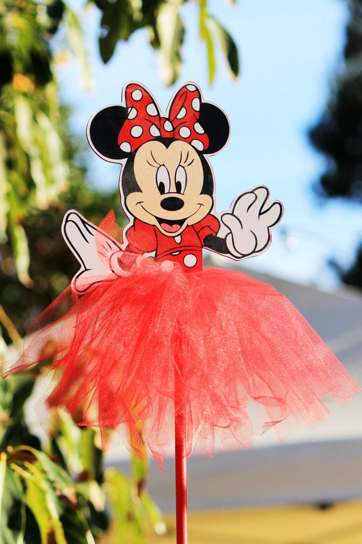 Lovely Minnie Mouse Red Polka Dot Wood Centerpiece With Tutu For Birthday Party,  Cake Table,